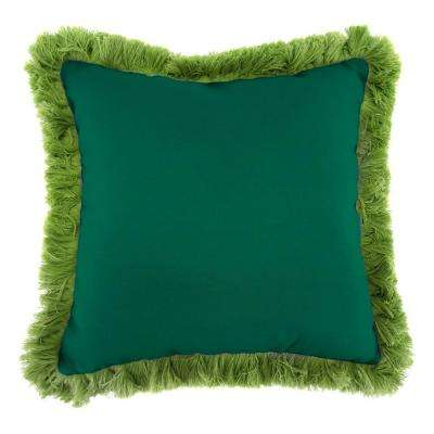 Sunbrella Canvas Forest Green Square Outdoor Throw Pillow with Gingko Fringe