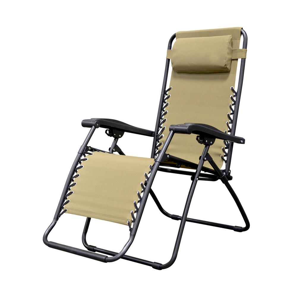 Caravan Sports Infinity Beige Metal Zero Gravity Patio Chair