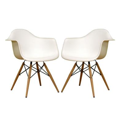 Pascal White Plastic Chairs (Set of 2)