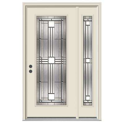 50 in. x 80 in. Full Lite Cordova Primed Steel Prehung Right-Hand Inswing Front Door with Right-Hand Sidelite