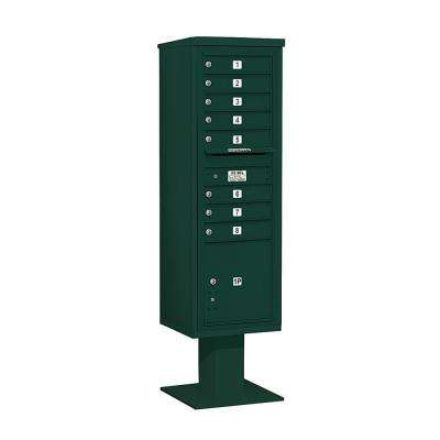 3400 Series 70-1/4 in. 15 Door High Unit Green 4C Pedestal Mailbox with 8 MB1 Doors/1 PL5