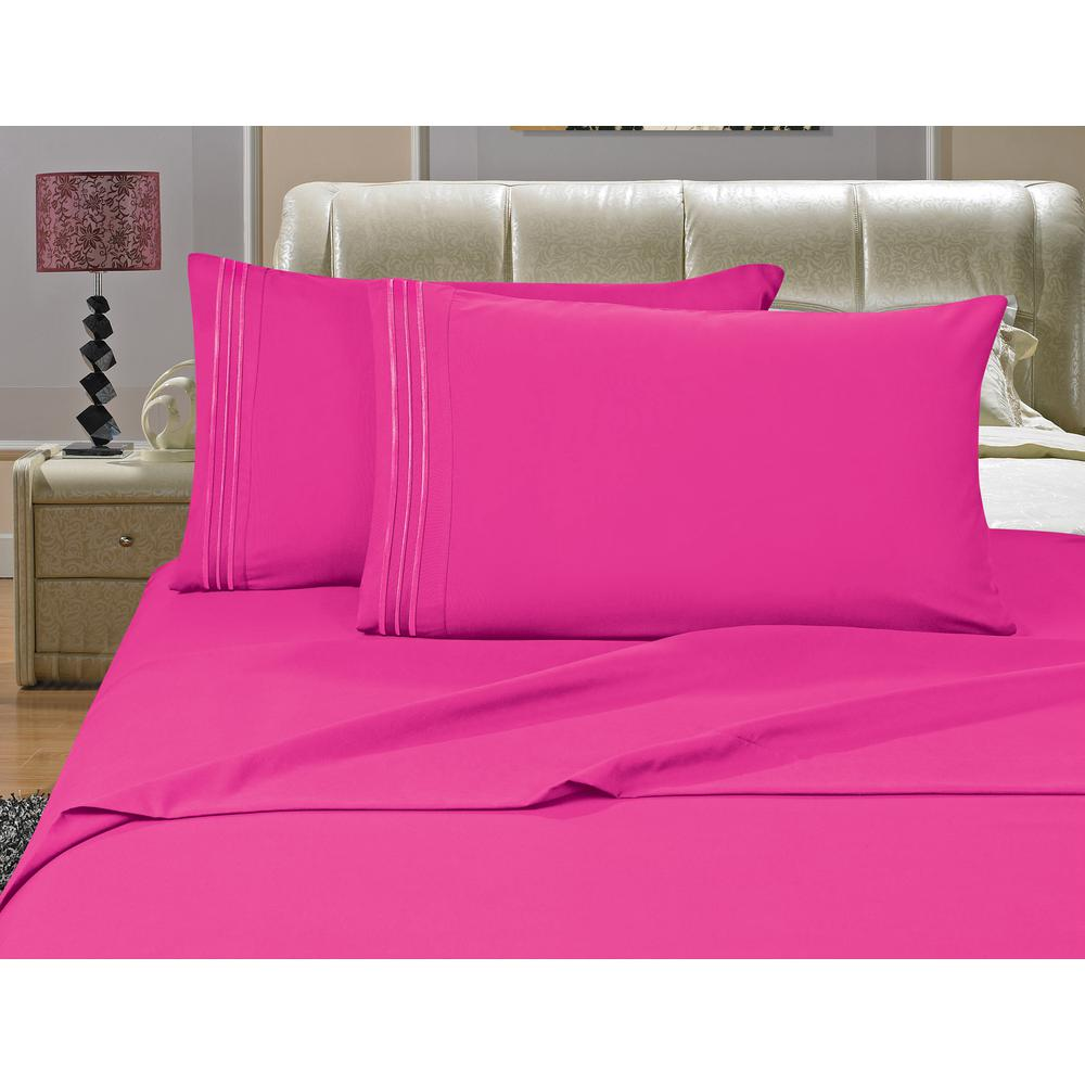 1500 Series 4-Piece Pink Triple Marrow Embroidered Pillowcases Microfiber Queen