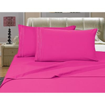 1500 Series 4-Piece Pink Triple Marrow Embroidered Pillowcases Microfiber Twin XL Size Hot Bed Sheet Set
