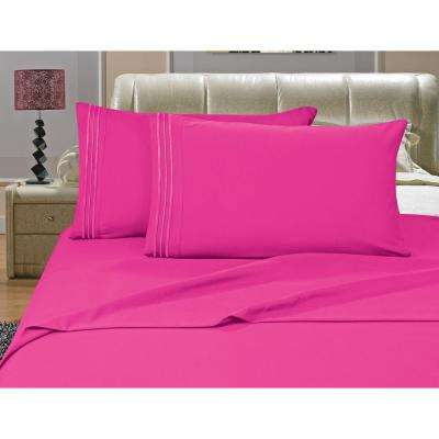1500 Series 4-Piece Pink Triple Marrow Embroidered Pillowcases Microfiber King Size Hot Bed Sheet Set