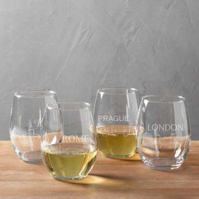 European Cityscapes 21 oz. Stemless Wine Glasses (4-Pack)