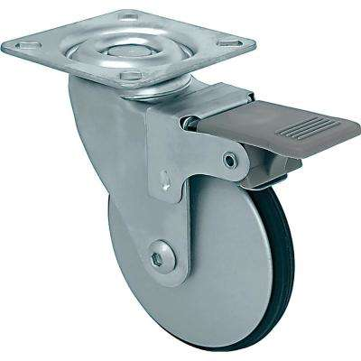 3 in. Petite Aluminum Swivel Caster with Brake and PE Tread, 77 lbs. Load Capacity (4-Pack)