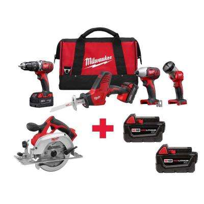 M18 18-Volt Lithium-Ion Cordless Combo Kit (4-Tool) with Free M18 Circ Saw and 2-Pack 3.0AH Batteries