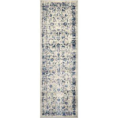 Vintage Gray/Blue 26 in. x 16 ft. 7 in. Indoor Runner