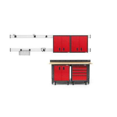 Premier Series 90 in. H x 72 in. W x 25 in. D Steel Garage Cabinet and Wall Storage System in Red Tread (13-Piece)