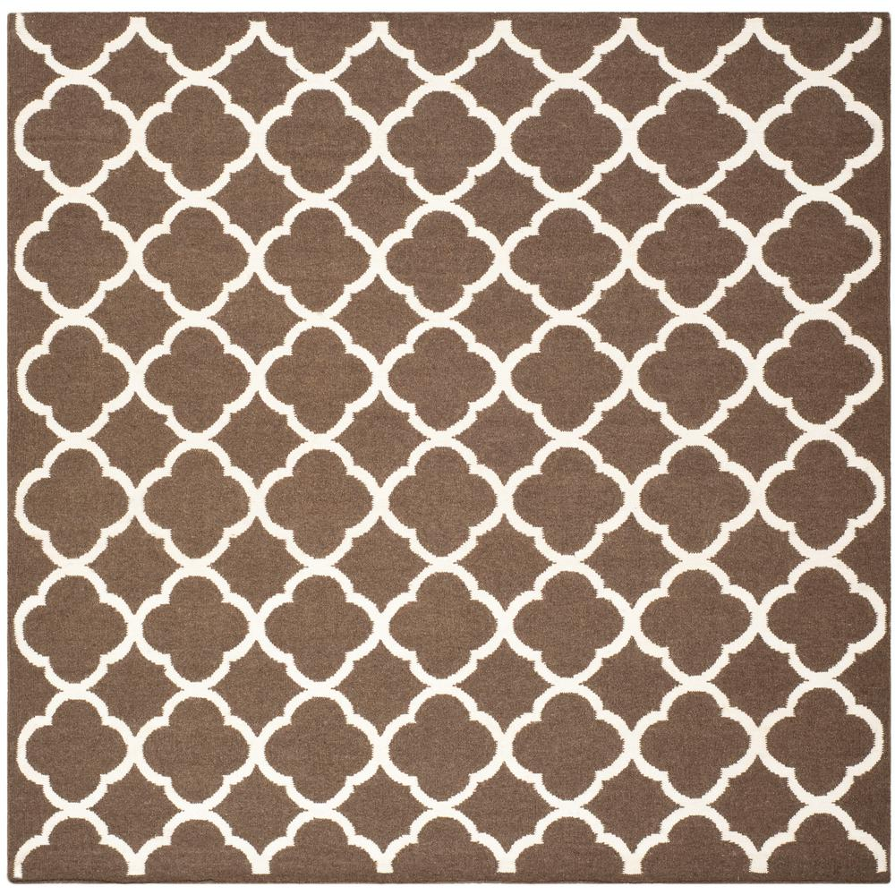 Safavieh Dhurries Brown Ivory 7 Ft X Square Area Rug