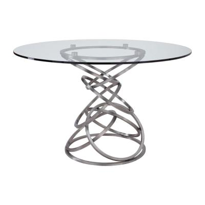 Wendy Contemporary Dining Table in Brushed Stainless Steel and Clear Glass Top