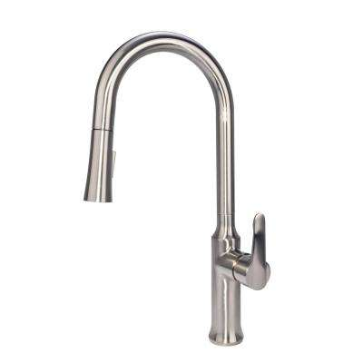 Modern Single-Handle Single-Hole Pull-Down Sprayer Kitchen Faucet in Brushed Nickel