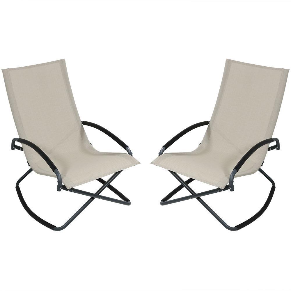 Sunnydaze Decor Beige Steel Folding Rocking Outdoor Lounge