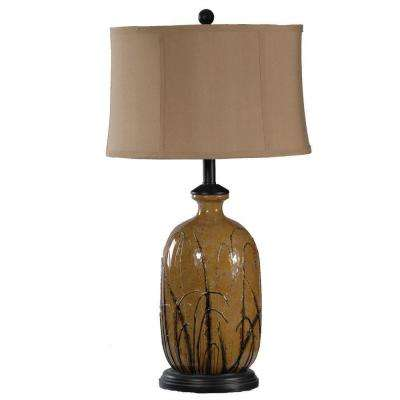 29.25 in. Toffee and Black Hand Painted Grass Pattern Ceramic Table Lamp