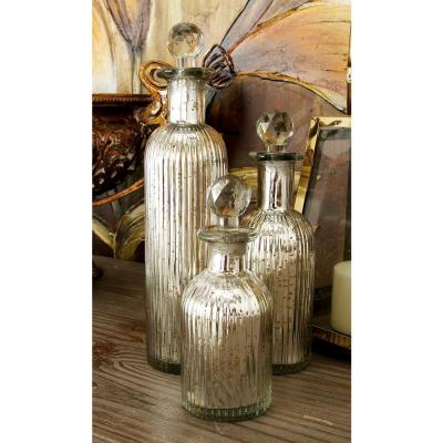 Rustic Fluted Glass Bottles with Clear Glass Stoppers (Set of 3)