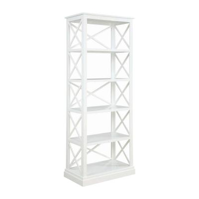 80 in. H White with 5-Shelves and X Shaped Panels Open Design Wooden Bookcase