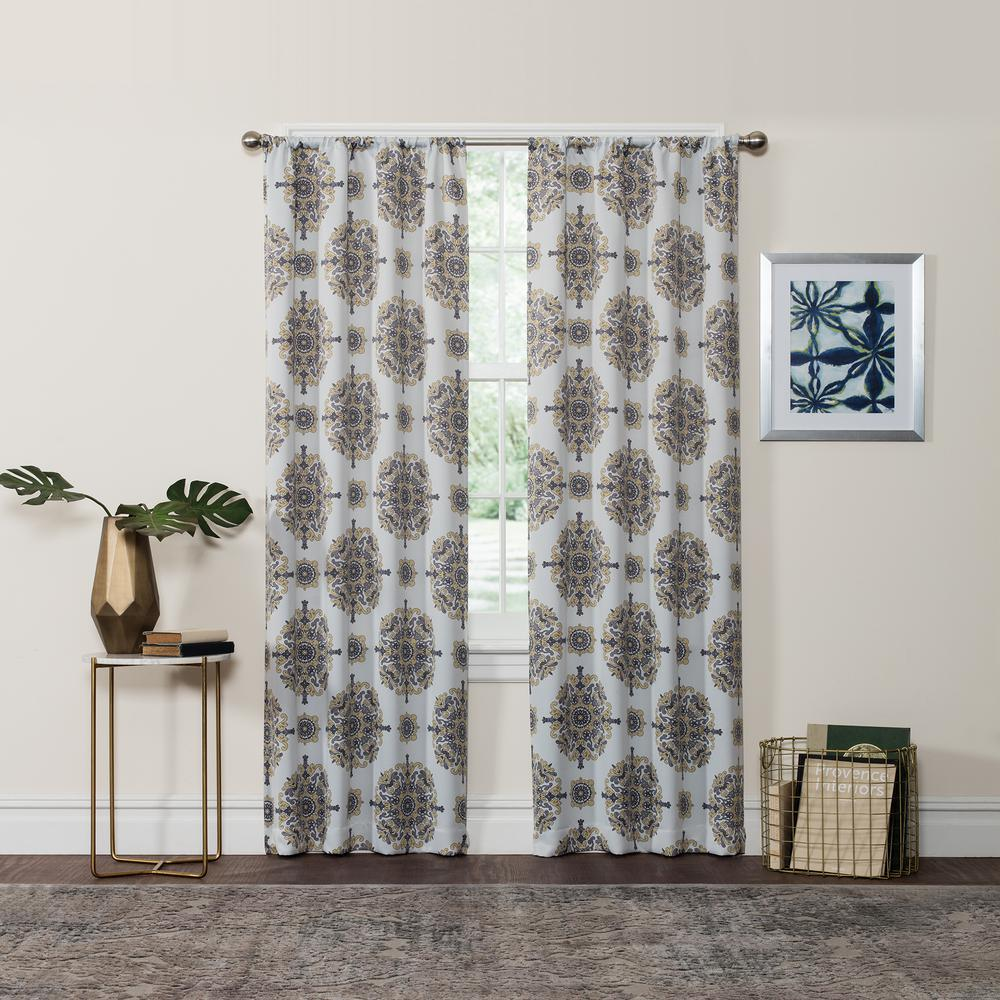 Eclipse Blackout Olivia 84 in. L Yellow Rod Pocket Curtain