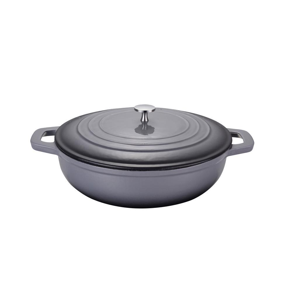 LA PLURIEL 3 qt. Round Enameled Cast Iron Casserole Pan in Gray with Lid