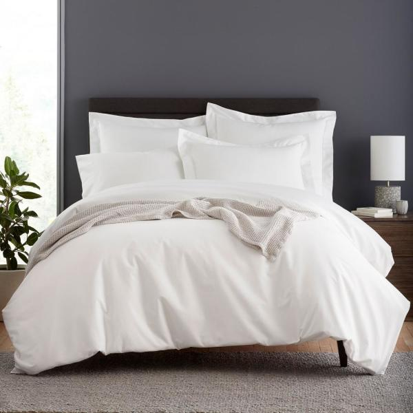 13f824361ef The Company Store Garment-Washed 3-Piece White Organic Cotton Percale King Duvet  Cover