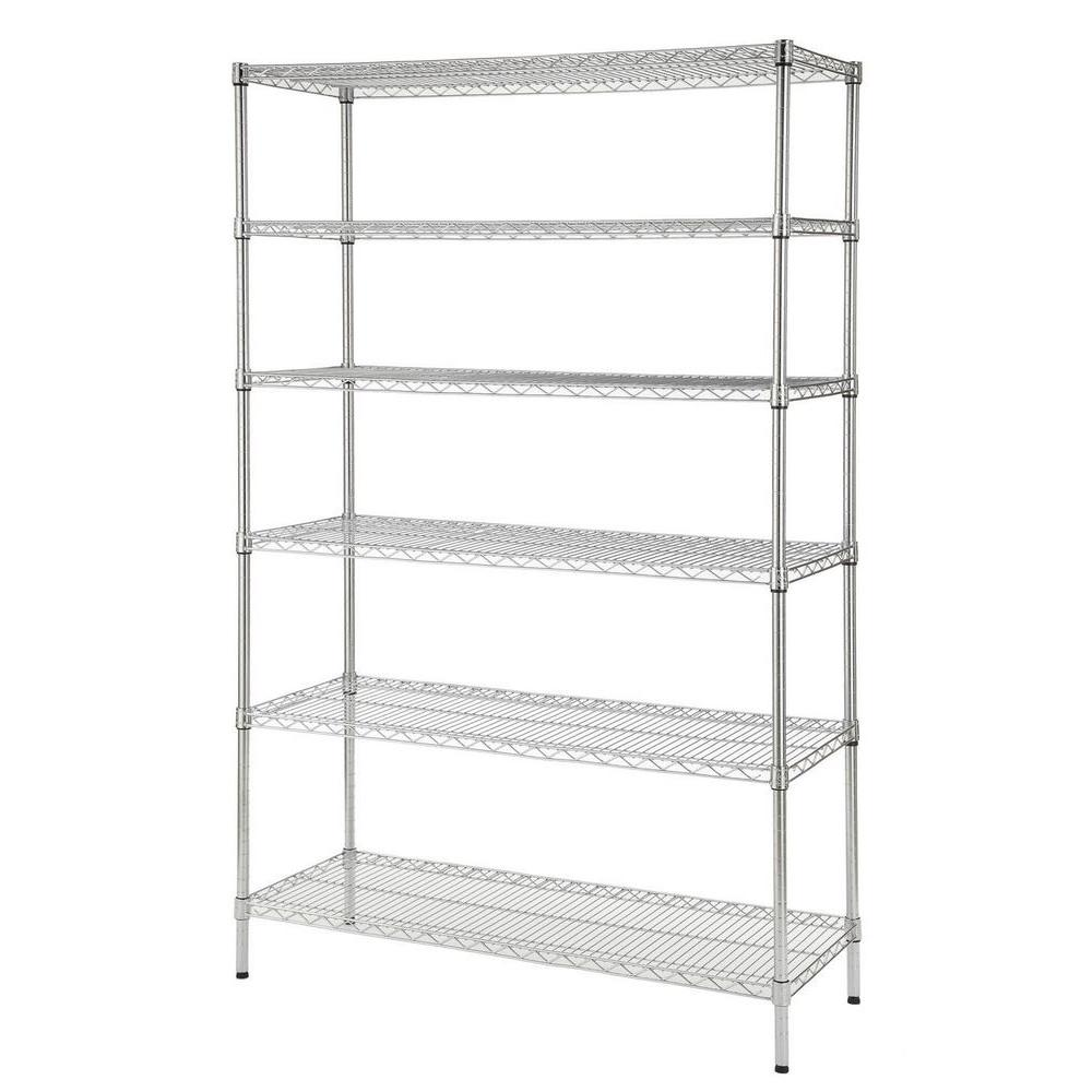 HDX 48 in. W x 72 in. H x 18 in. D Decorative Wire Chrome Heavy Duty Shelving Unit