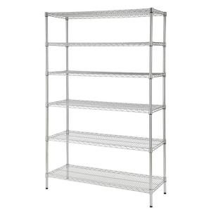 48 in. W x 72 in. H x 18 in. D Decorative Wire Chrome Heavy Duty Shelving Unit