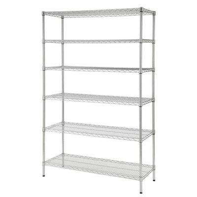 Heavy Duty 6-Tier Wire Shelving Unit in Chrome (48 in. W x 72 in. H x 18 in. D)