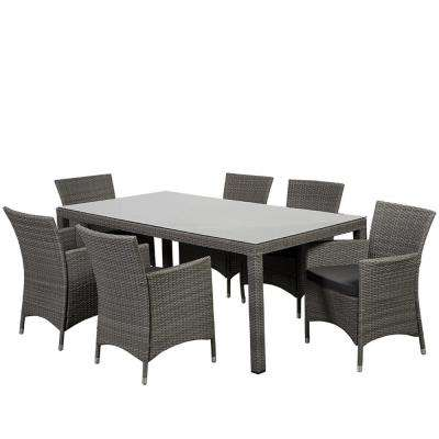 Grand New Liberty 7-Piece Wicker Outdoor Dining Set with Grey Cushions