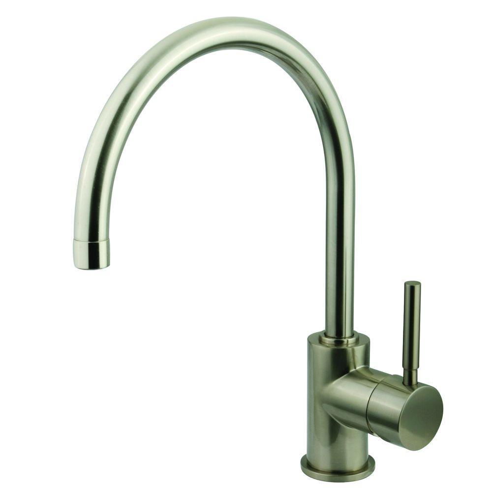 Single-Hole Single-Handle High-Arc Vessel Bathroom Faucet in Satin Nickel