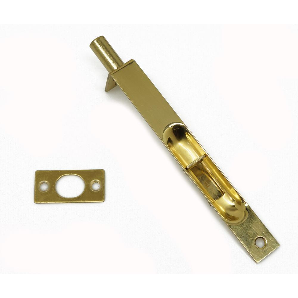6 in. Solid Brass Flush Bolt with Square End in Polished