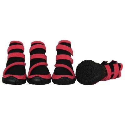 Small Pink/Black Performance-Coned Premium Stretch Supportive Dog Shoes (Set of 4)