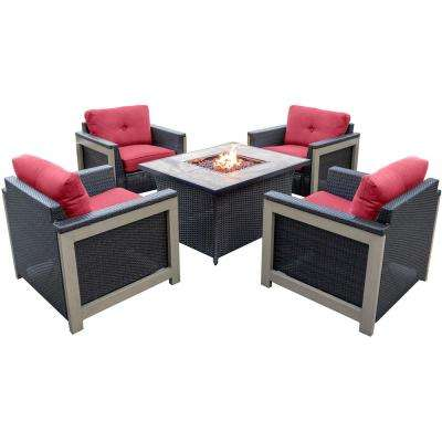 Montana 5-Piece Wicker Patio Fire Pit Conversation Set with Faux Tile-Top Fire Pit with Autumn Berry Cushions