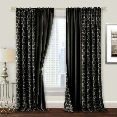 Prelude 50 in. W x 63 in. L Reversible Blackout Rod Pocket Curtain Panel in Black