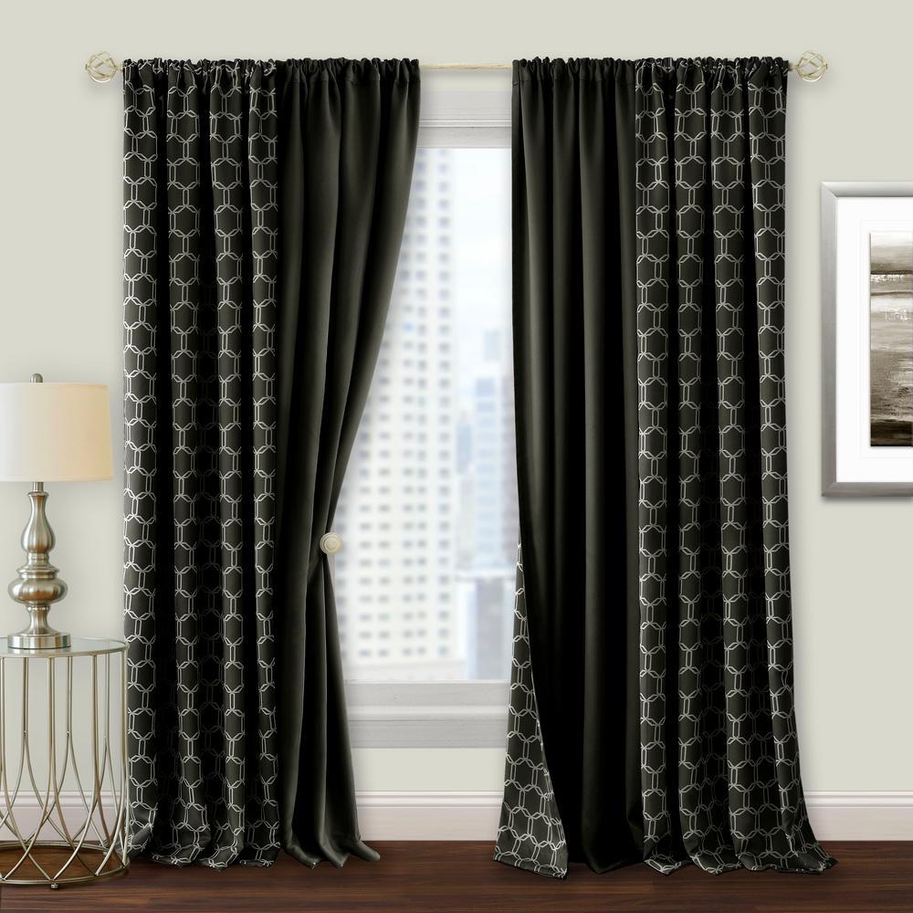 Prelude 50 in. W x 84 in. L Reversible Blackout Rod Pocket Curtain Panel in Black