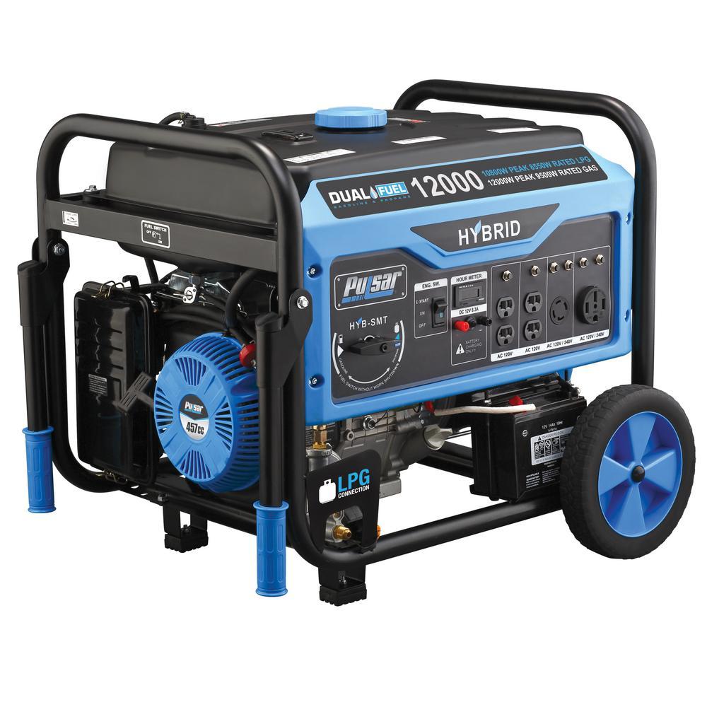 Pulsar 12,000-Watt/9,500-Watt Dual Fuel Gasoline/Propane Powered Electric/Recoil Start Portable Generator 457cc CARB Compliant