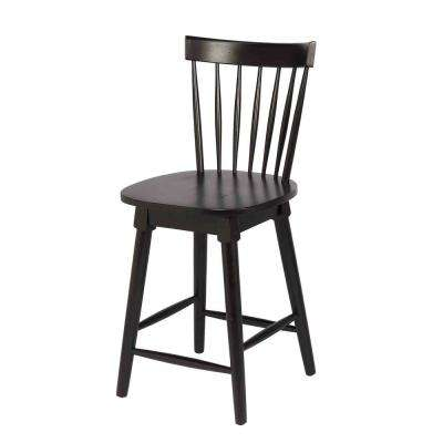 Elise 24 in. Black Counter Height Swivel Bar Stool (Individual)