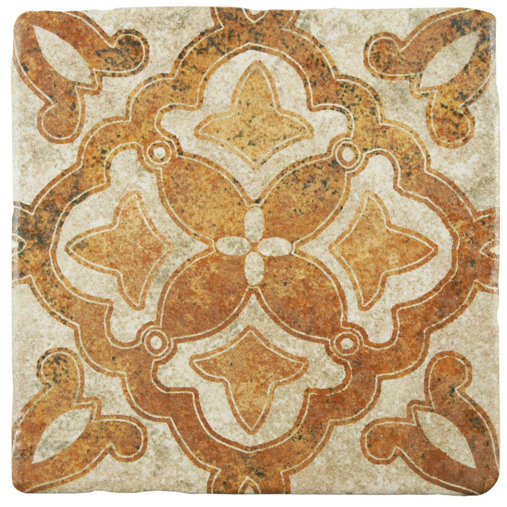 Costa Arena Decor Clover Encaustic 7-3/4 in. x 7-3/4 in. Ceramic