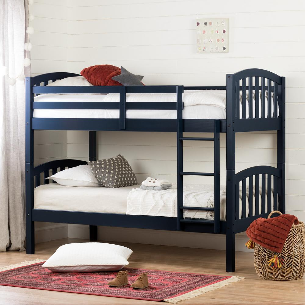 South Shore Summer Breeze Navy Blue Twin Bunk Bed 11820 The Home Depot