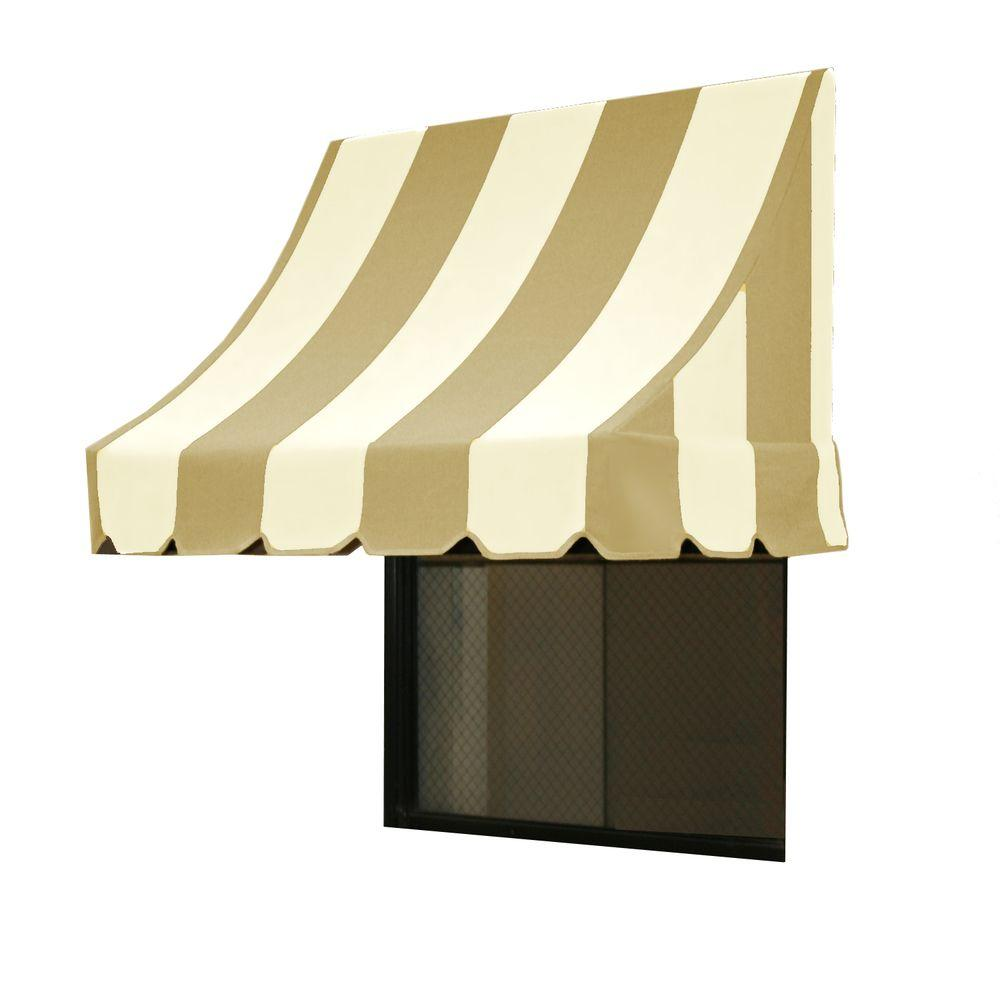 AWNTECH 25 ft. Nantucket Window/Entry Awning (44 in. H x 36 in. D) in Linen/White Stripe