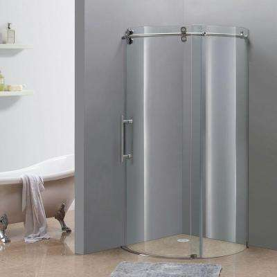 Orbitus 36 in. x 36 in. x 75 in. Completely Frameless Round Shower Enclosure in Stainless Steel with Left Opening