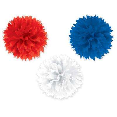 16 in. Red, White and Blue Fluffy Decorations (3-Count, 2-Pack)