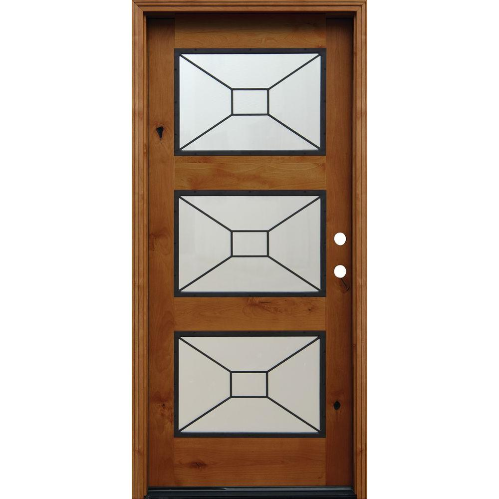 36 in. x 80 in. Contemporary 3 Lite Mistlite Stained Knotty