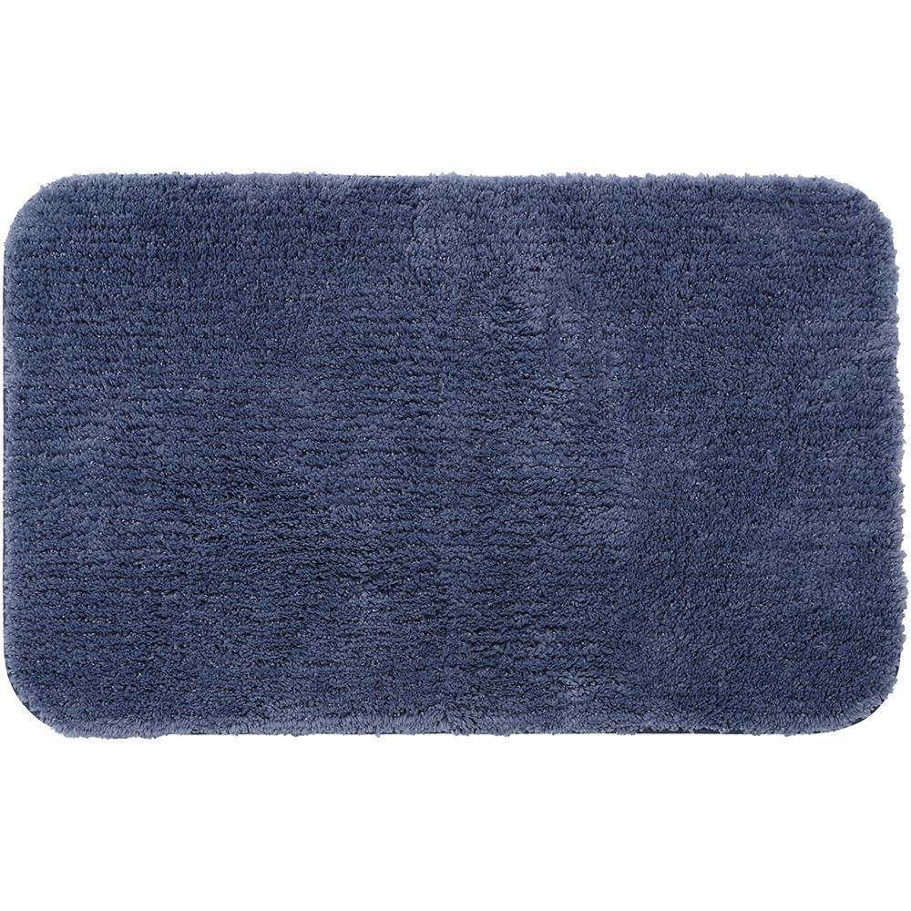 Mohawk Home Duo Indigo 20 in. x 22 in. Nylon Machine Washable Bath Mat, Blue