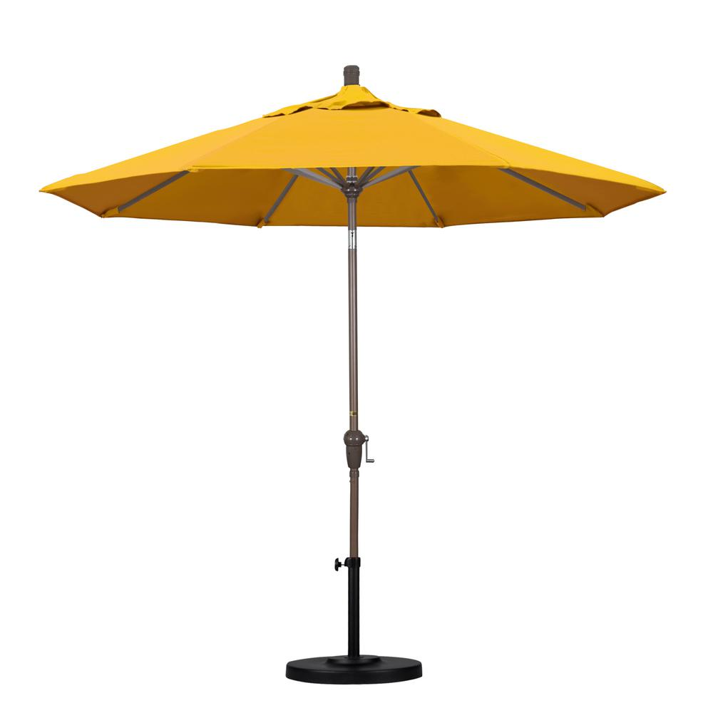 California Umbrella 9 ft. Aluminum Auto Tilt Patio Umbrella in Yellow Pacifica