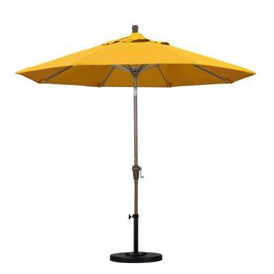 9 ft. Aluminum Auto Tilt Patio Umbrella in Yellow Pacifica