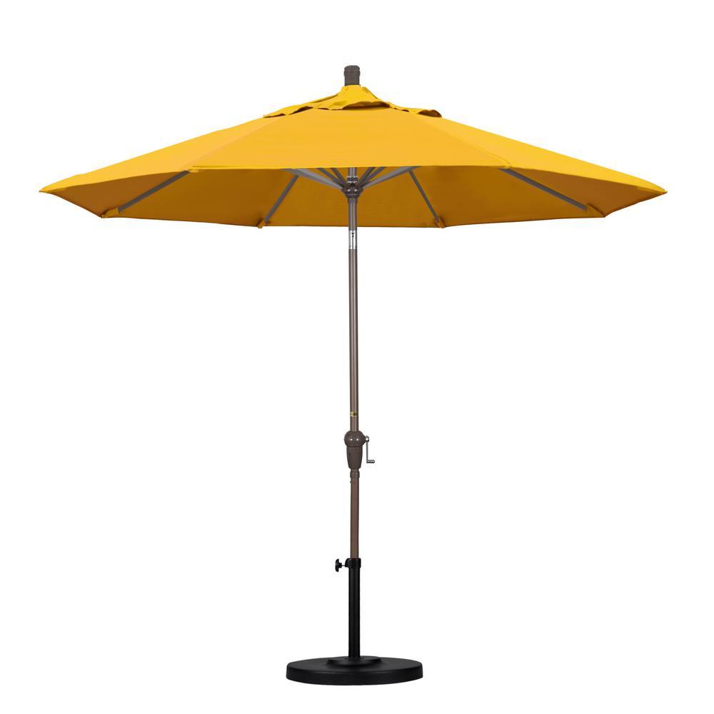 9 ft. Aluminum Auto Tilt Patio Umbrella in Yellow Pacifica
