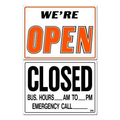 21 in. x 15 in. Open/Closed Sign Printed on More Durable, Thicker, Longer Lasting Styrene Plastic