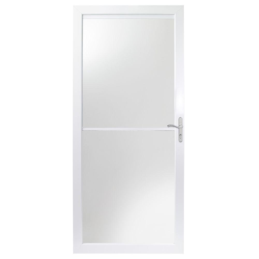 Andersen 36 in. x 80 in. 2000 Series White Universal Self-Storing Aluminum Storm Door with Nickel Hardware
