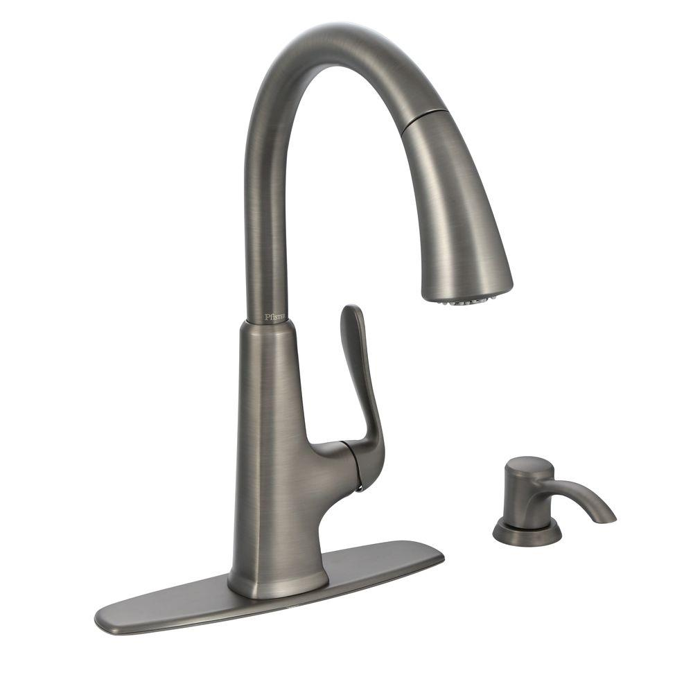Pfister pasadena single handle pull down sprayer kitchen faucet with soap dispenser in slate