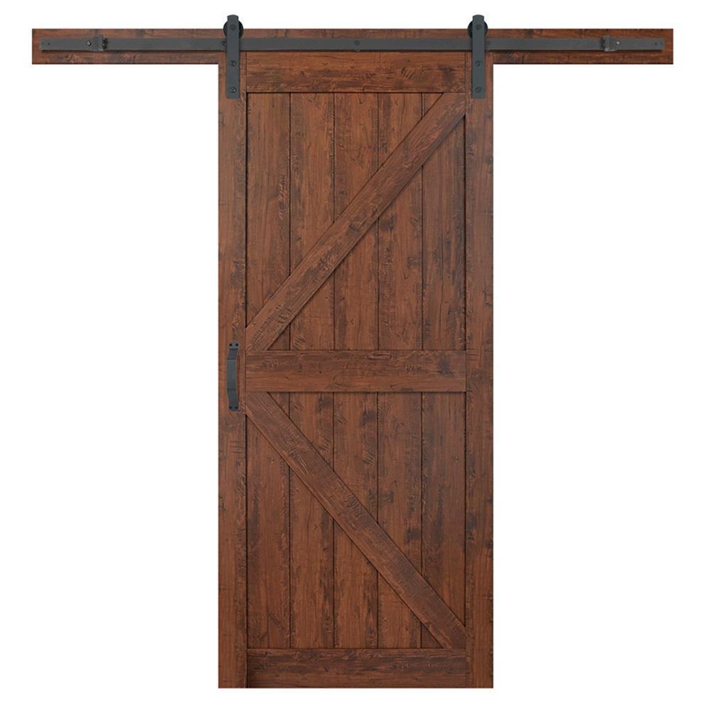 36 in. x 84 in. K-Bar Auburn Interior Sliding Barn Door Slab with Hardware Kit