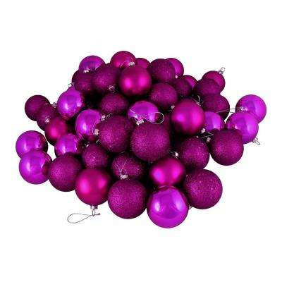 magenta pink shatterproof 4 finish christmas ball ornaments 24 count